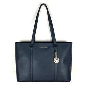 Michael Kors Navy Sady Large Top Zip Leather Tote